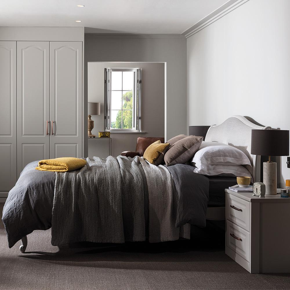 layered grey bedroom by hannah cork